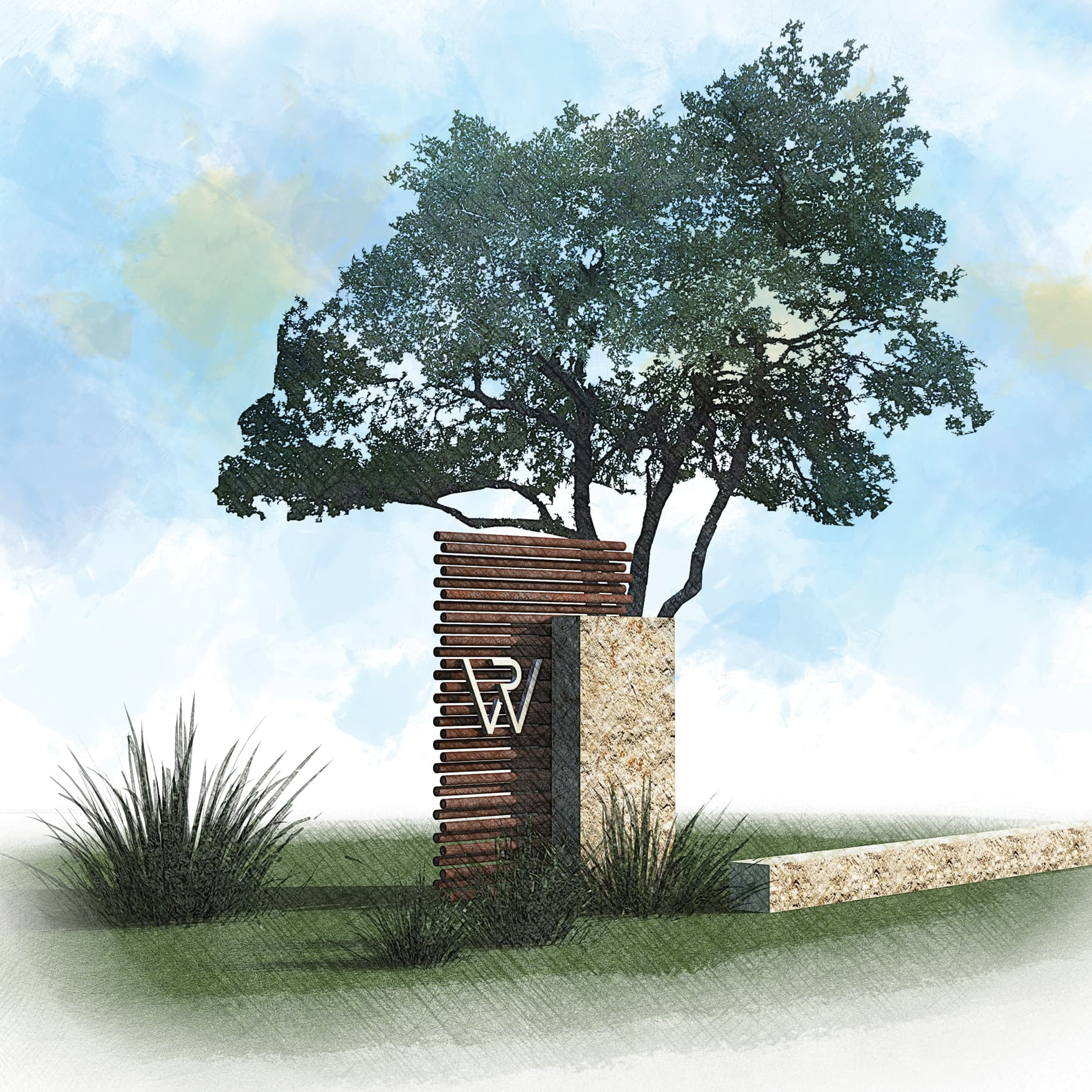 Wolf Creek Monument Signage Using Corten and Texas Limestone