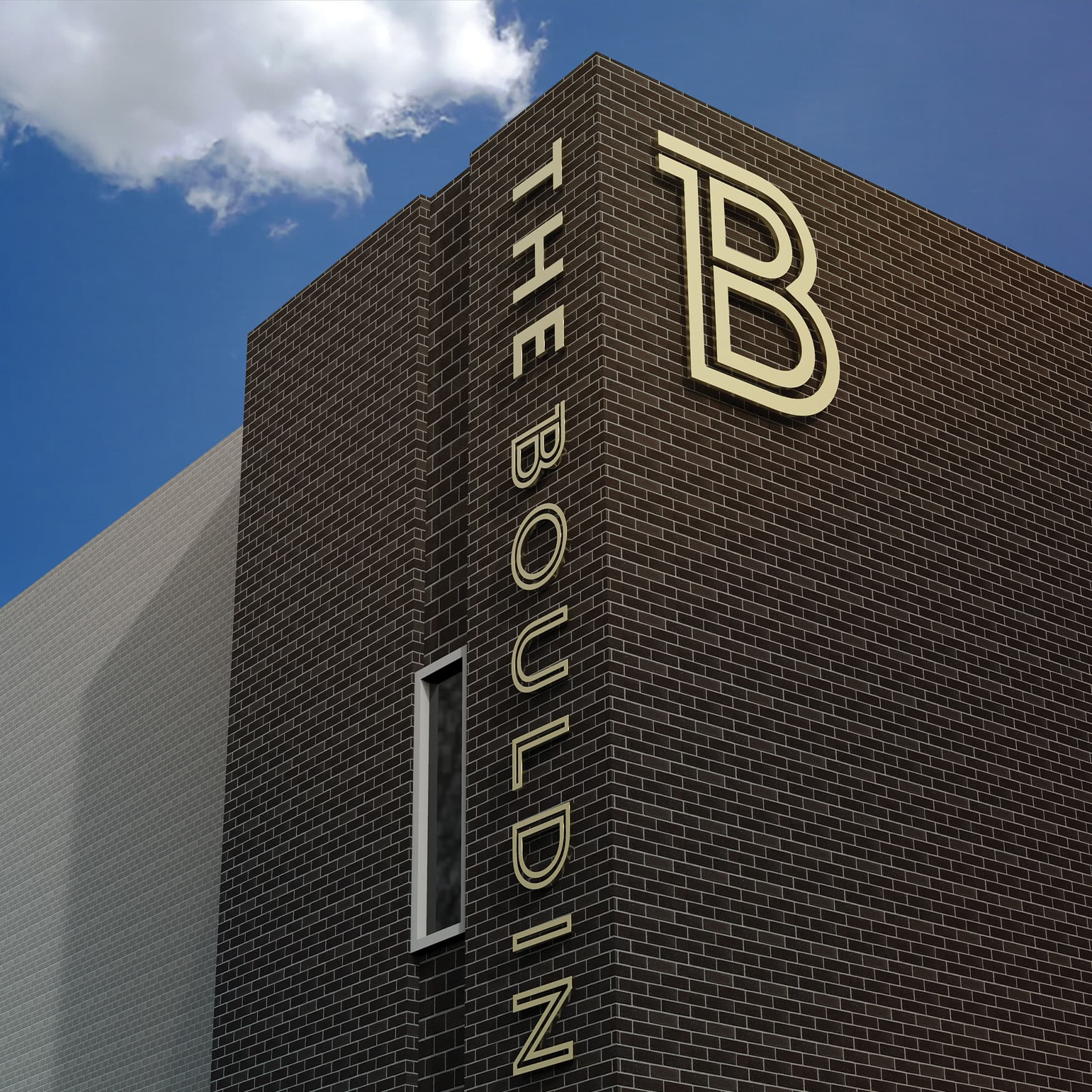 The Bouldin pinned-off building identity signage.