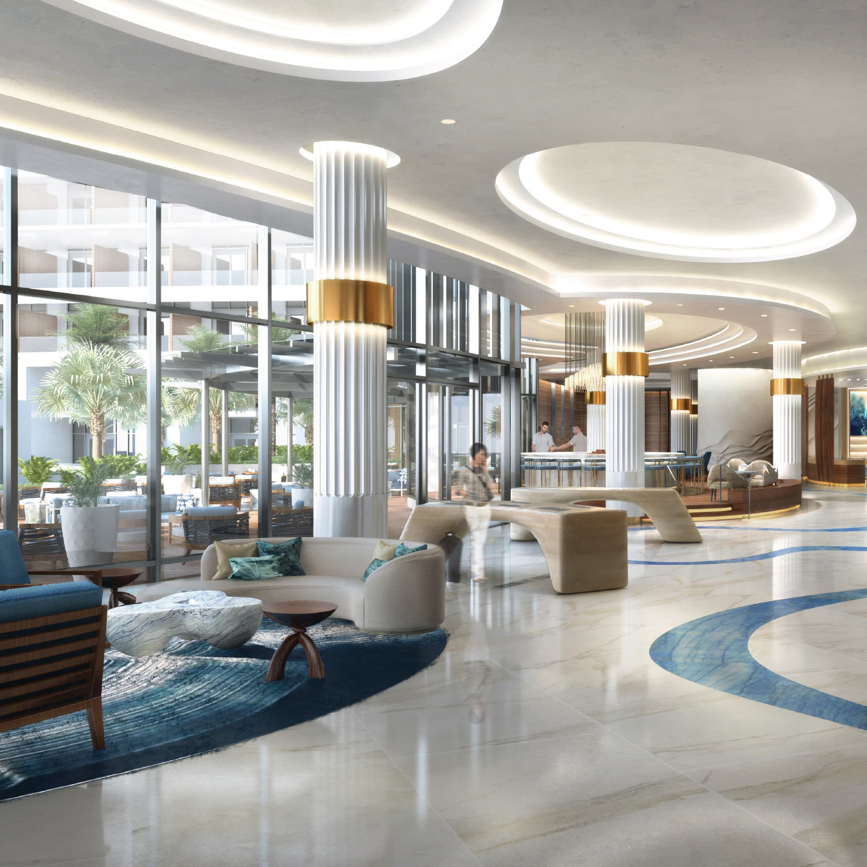 The lobby design of Pier Sixty-Six Hotel & Marina, a mixed-use residential development in Fort Lauderdale, Florida.