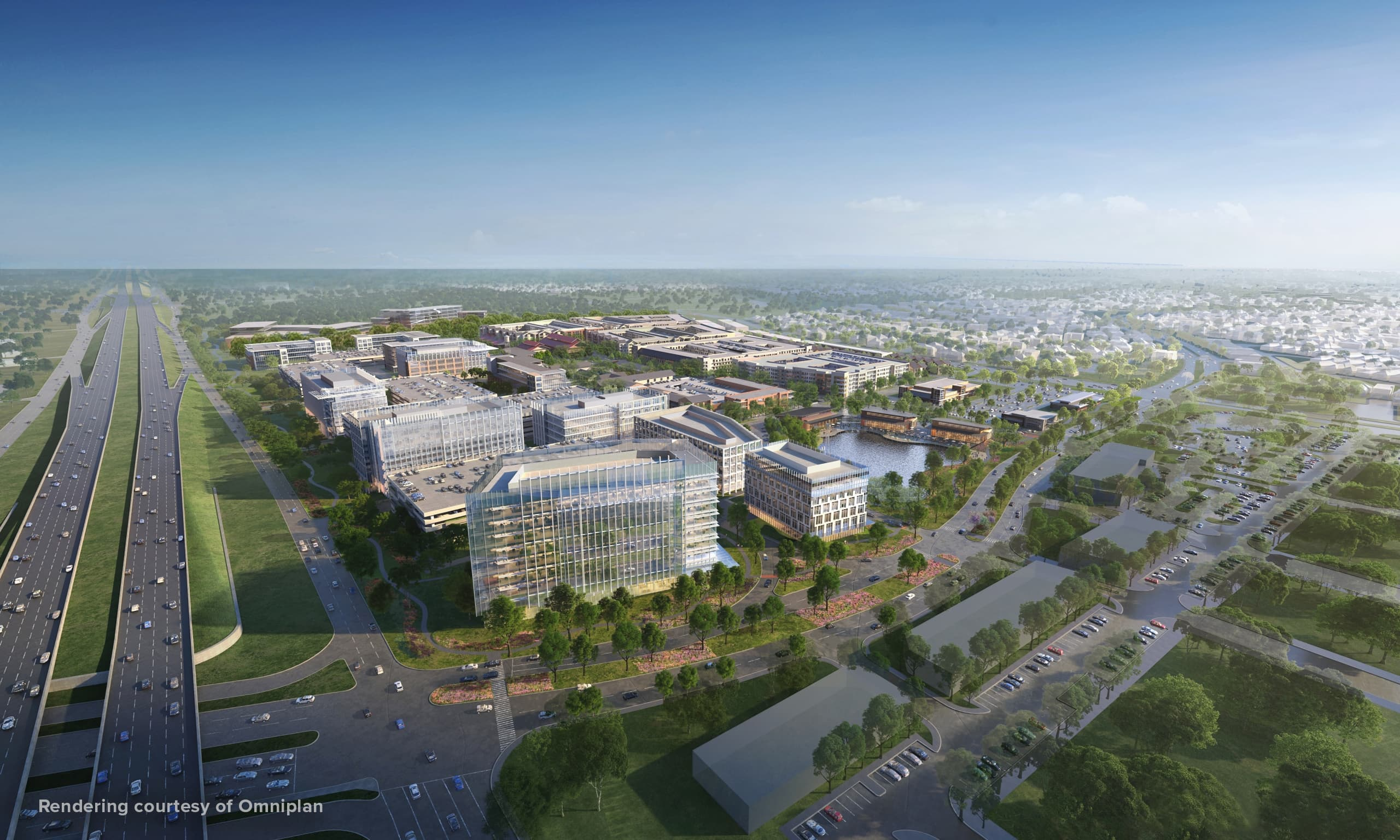Aerial view of The Farm mixed use development in Allen, Texas