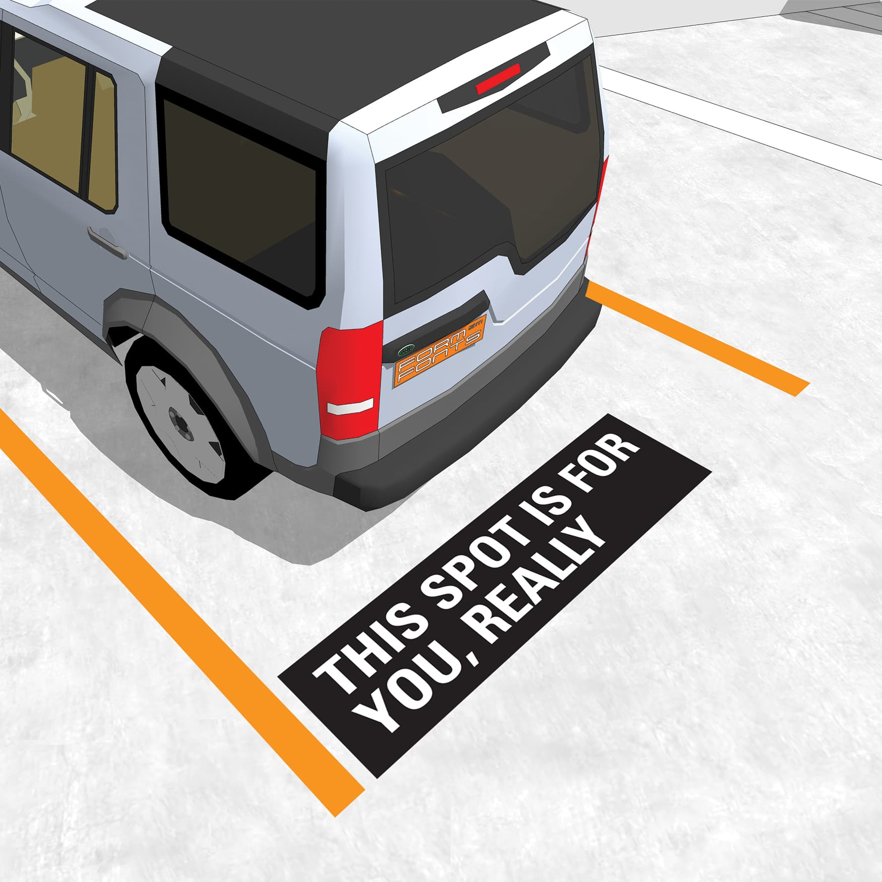 specialty graphics in parking stall, parking garage design by RSM Design
