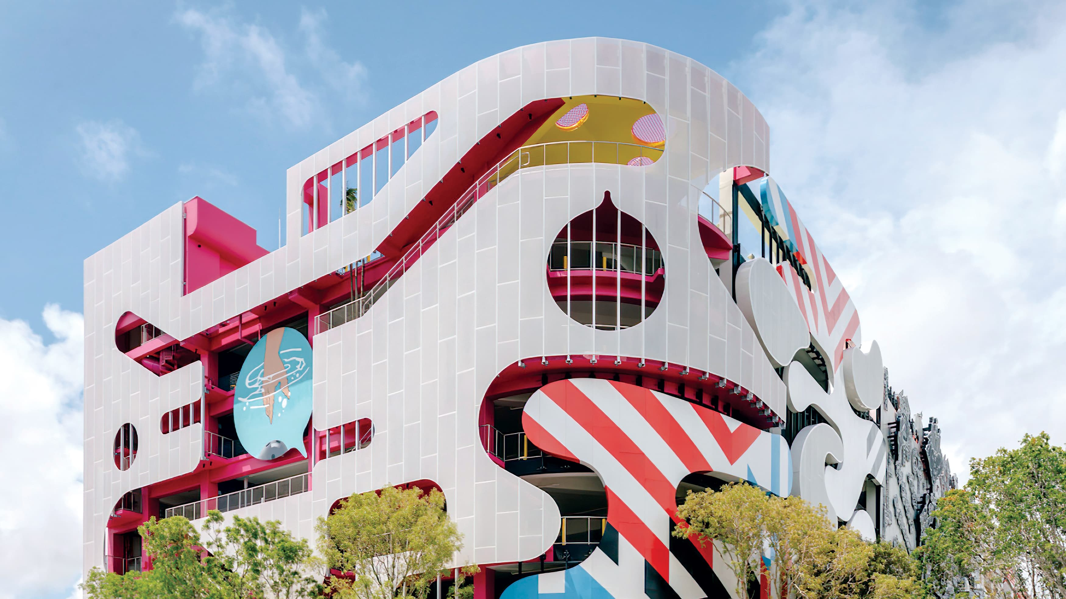 Multi-colored and patterned parking garage located in Miami Design District