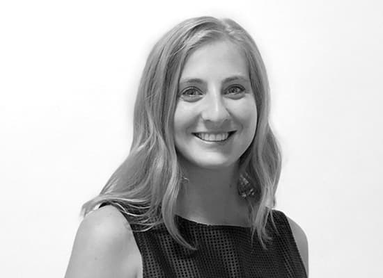 Headshot of RSM design team member Carly Zembrodt in black and white.