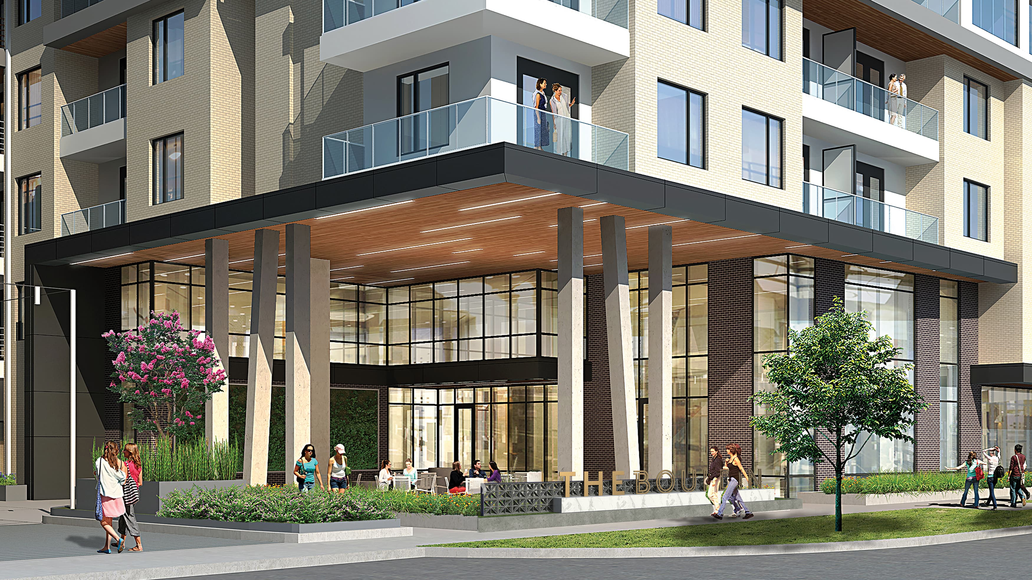 Architect's rendering of The Bouldin, a mixed-use residential and retail project.