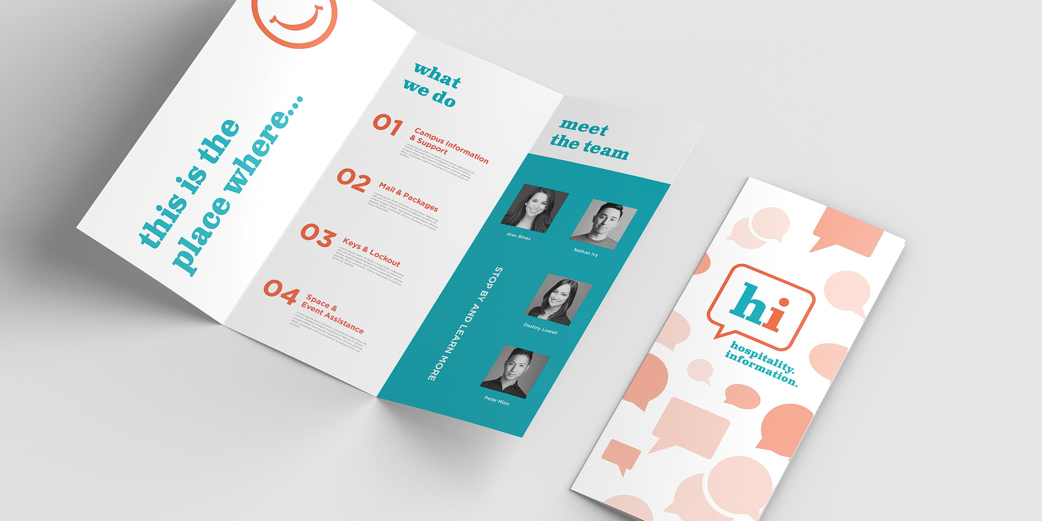 RSM Design collaborated with UC San Diego to establish the concierge service for students living on the university campus, through branding and logo design services. Print Design. Pamphlet Design. Information Design.