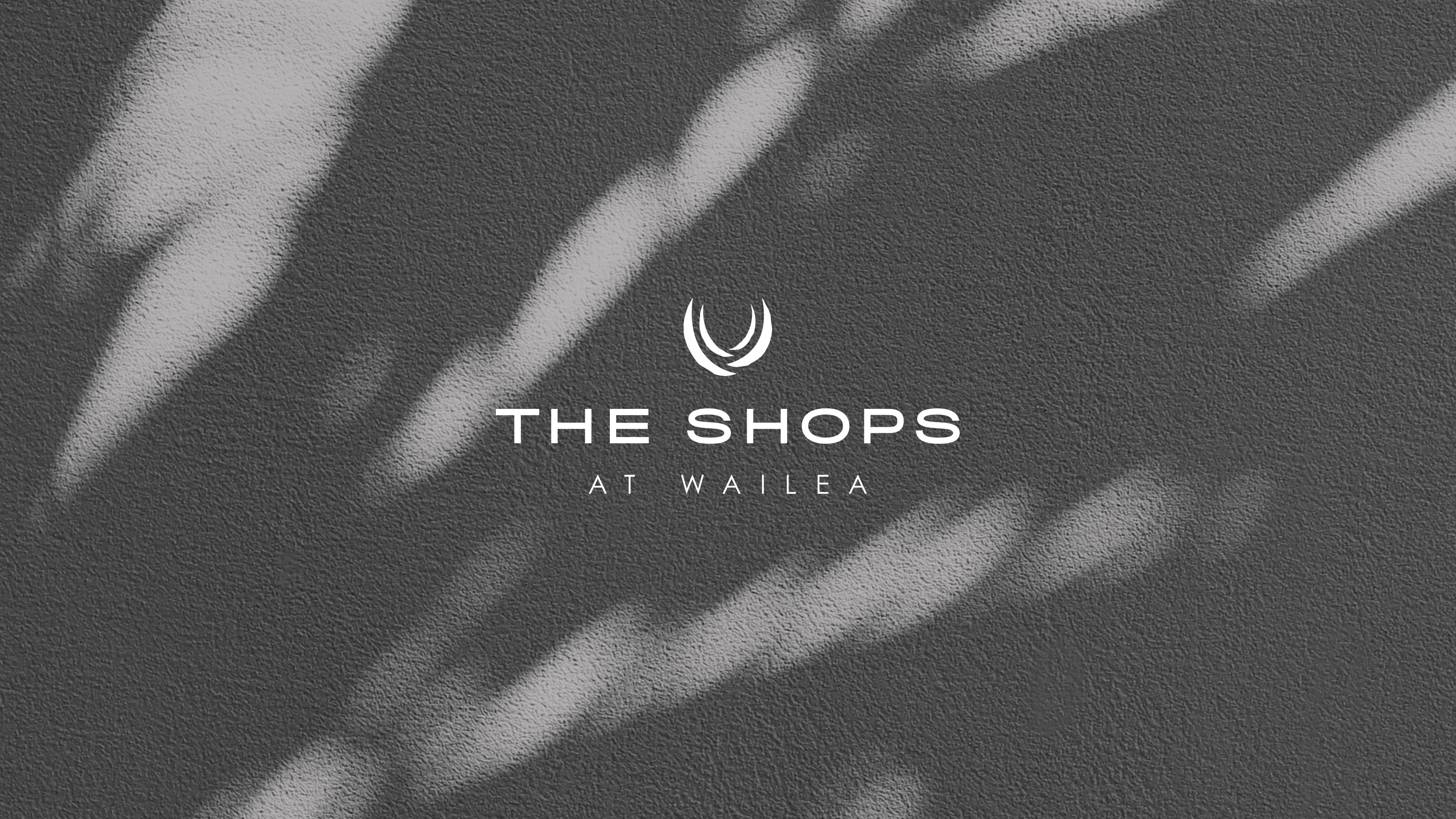The Shops of Wailea white logo on a shadow wall of a palm tree leaf.