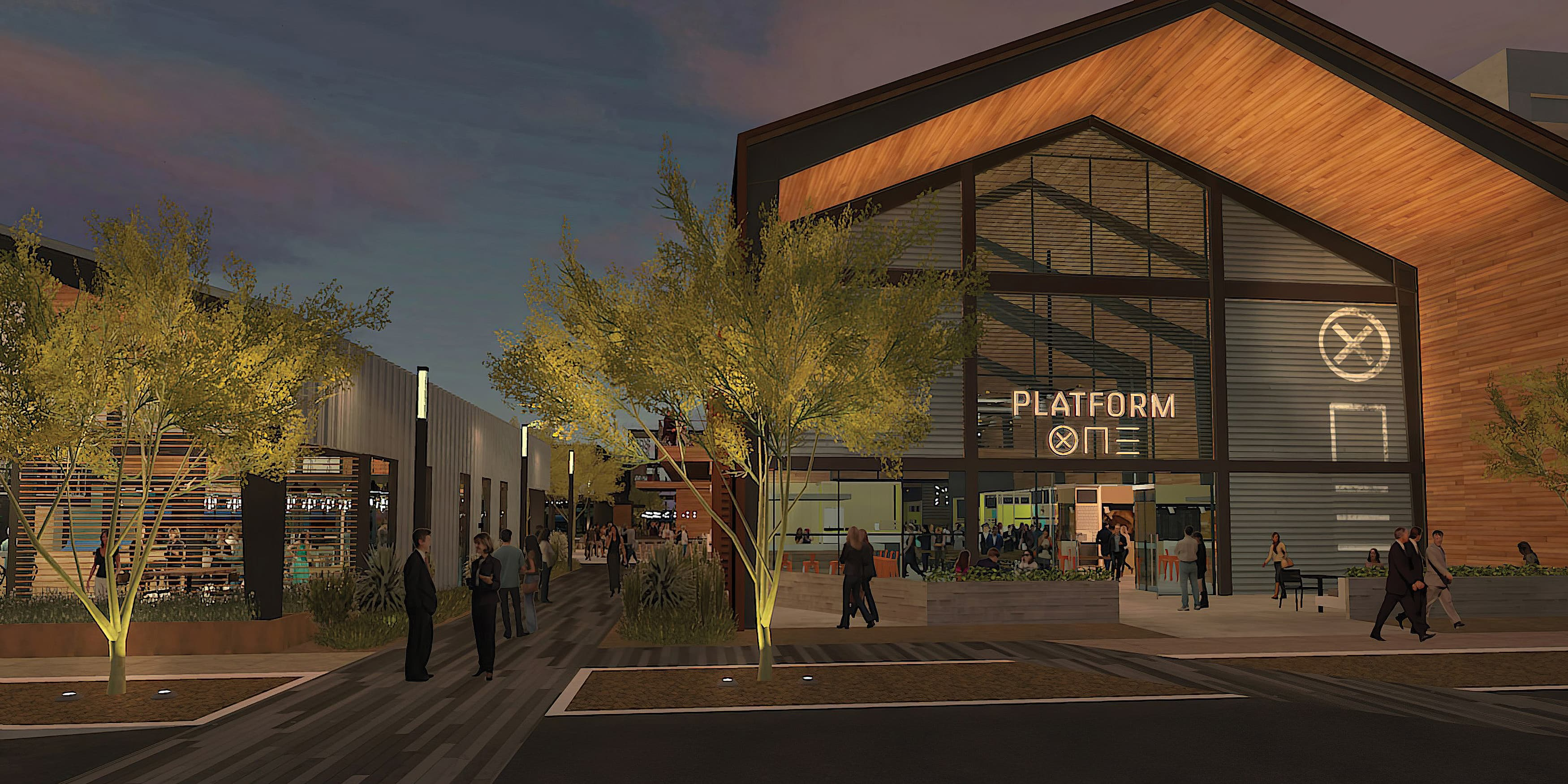 Architectural rendering of Platform One at Uncommons, a neighborhood food hall in Las Vegas, Nevada. RSM Design worked to develop the name, identity system and brand guidelines.