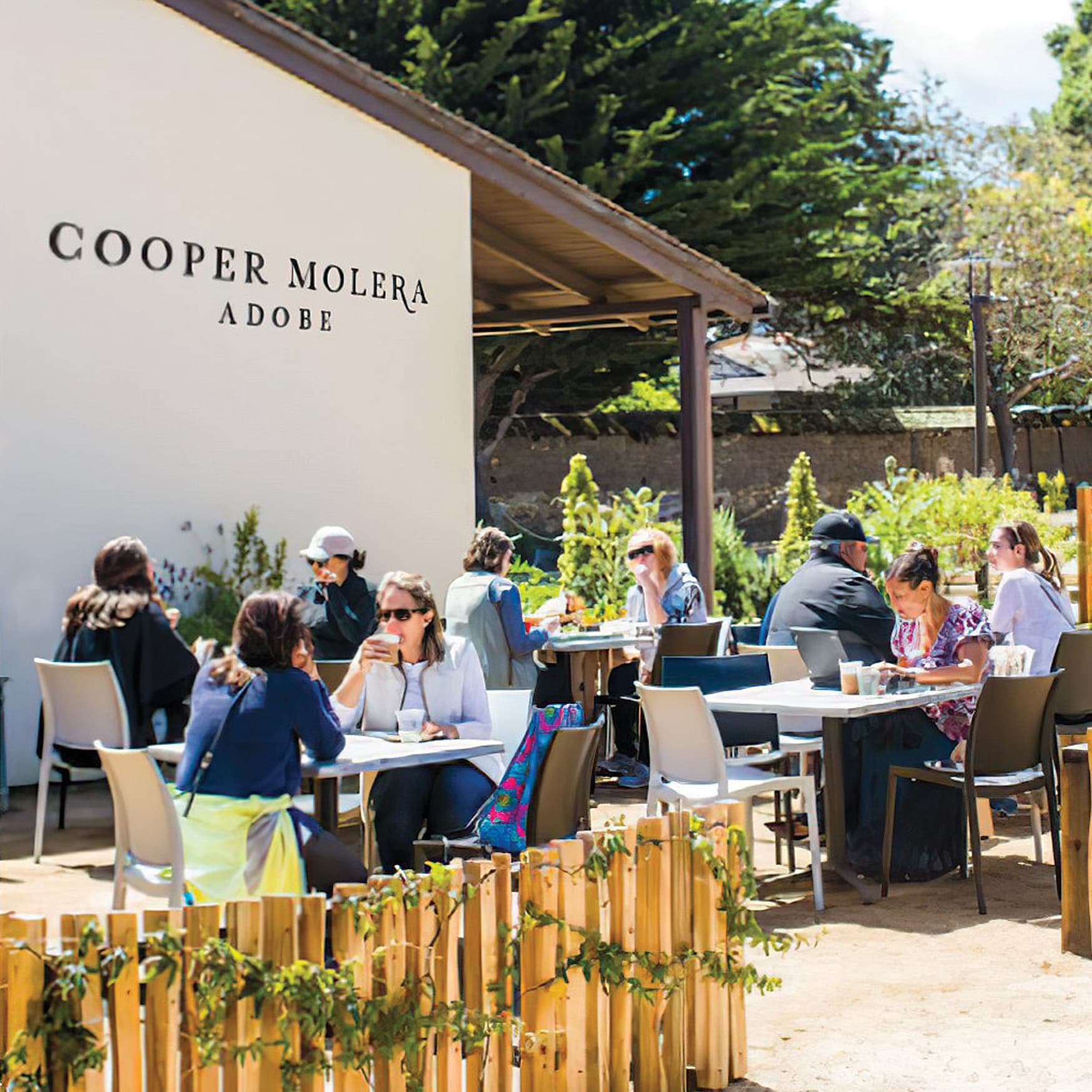 RSM Design painted storefront identity and brand for Cooper Molera Adobe, in Monterey, California,  is a historic property jointly managed with the National Trust for Historic Preservation