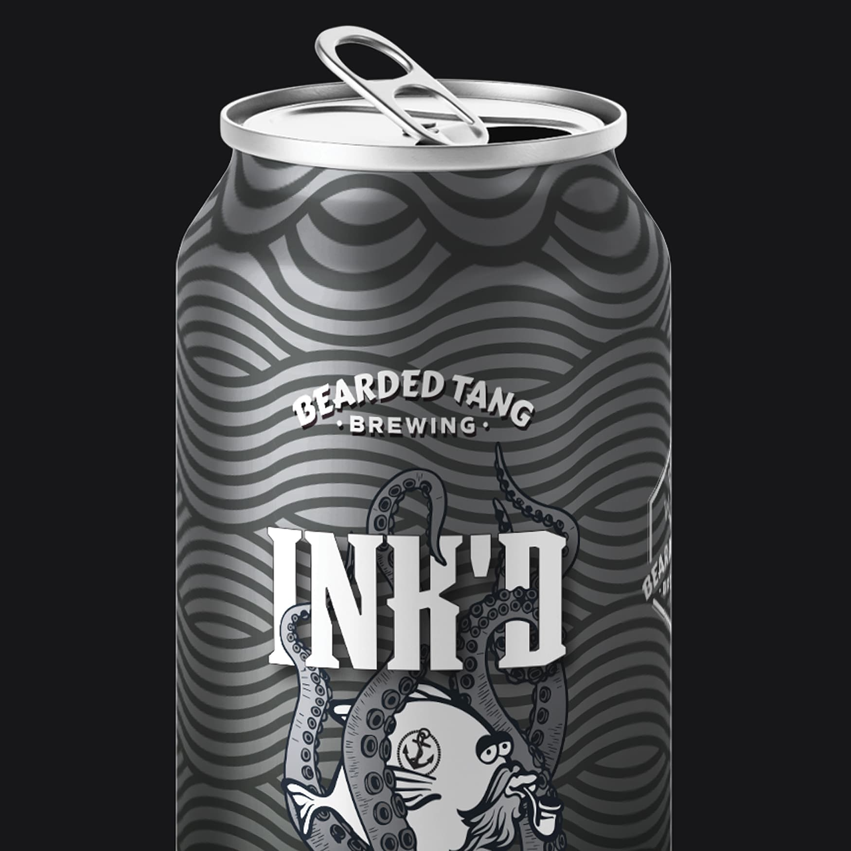 Beer can label design that says Bearded Tang Brewery.