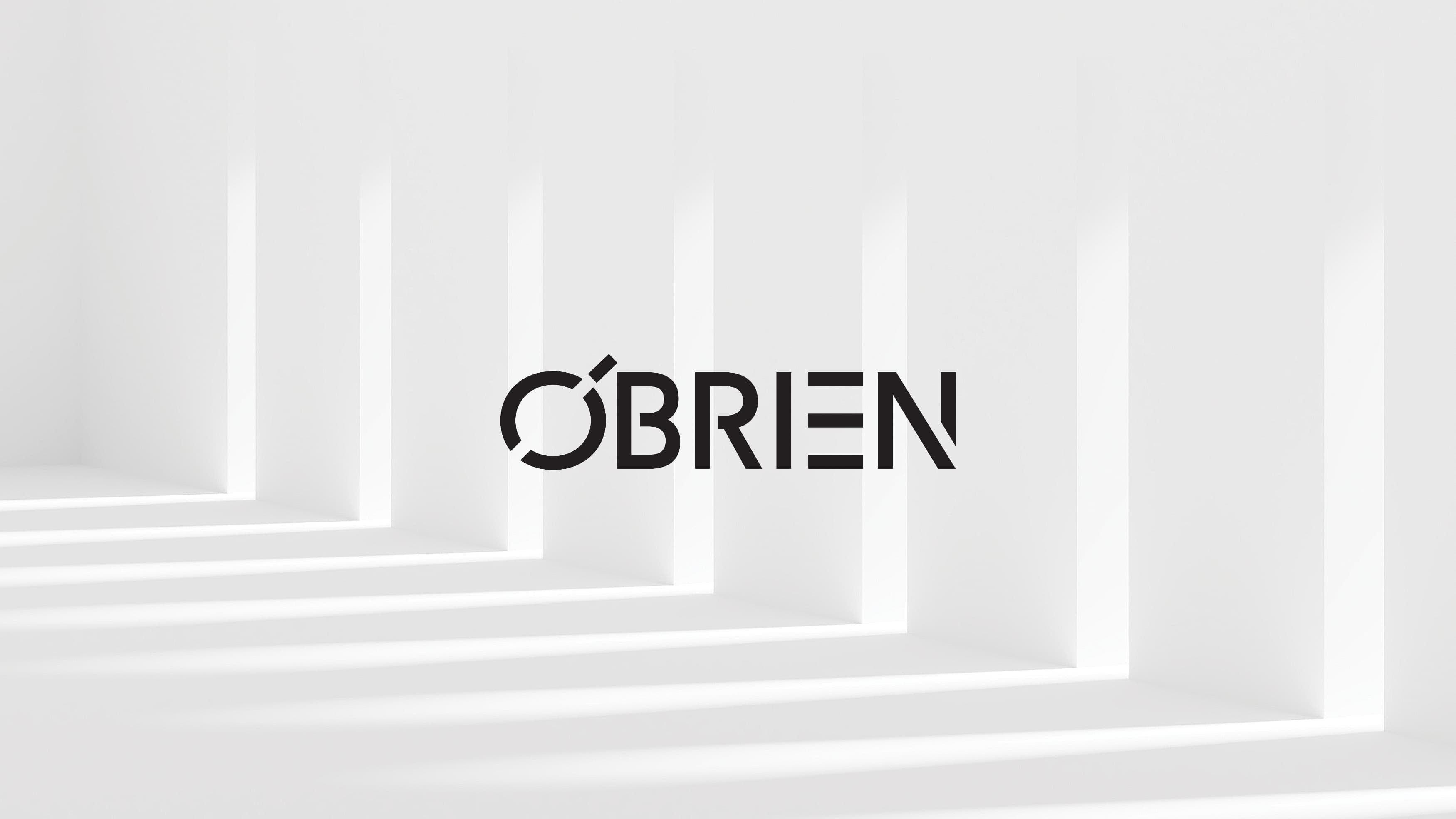 White architectural background with black Obrien logo.