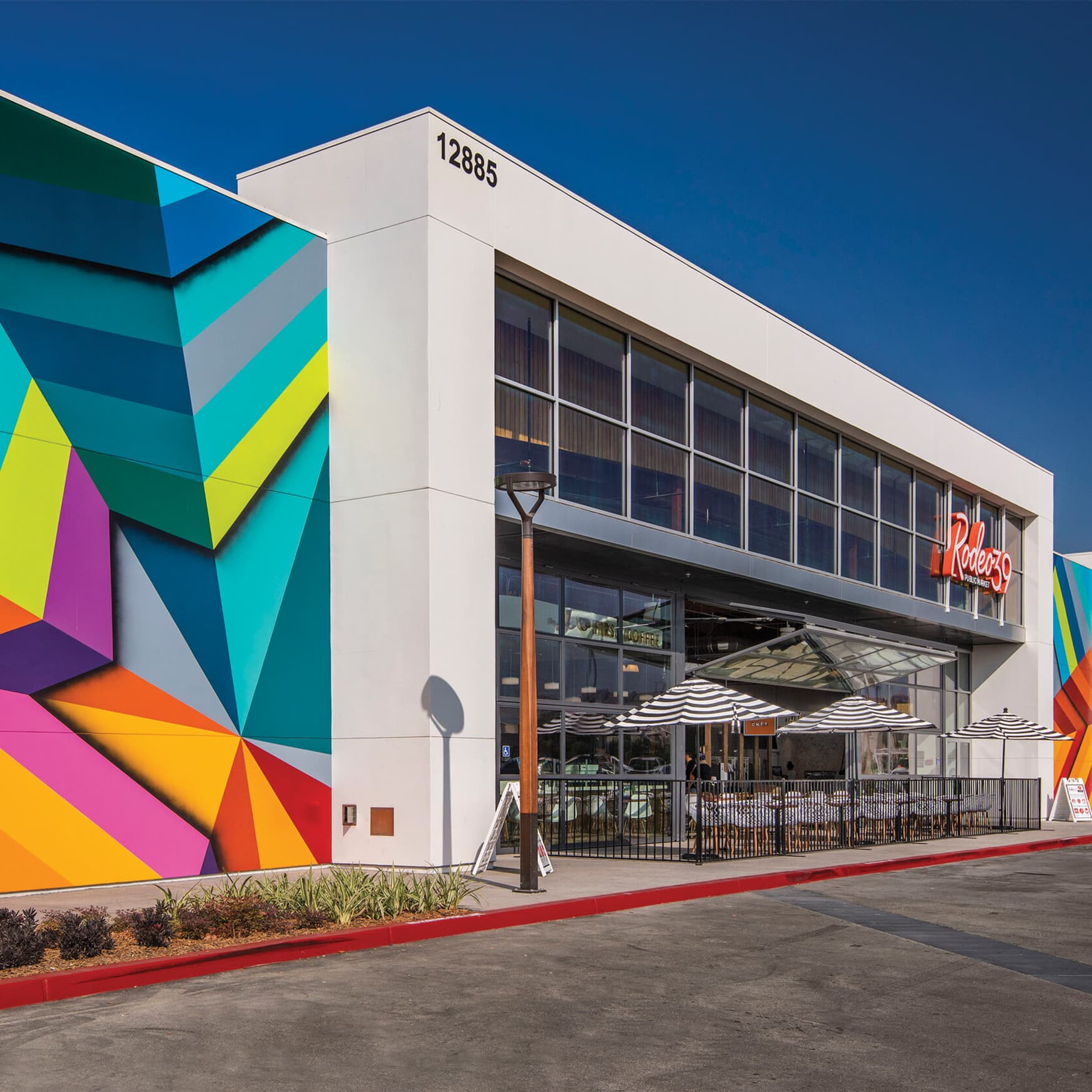 Colorful murals designed in collaboration with QBIK for Rodeo39