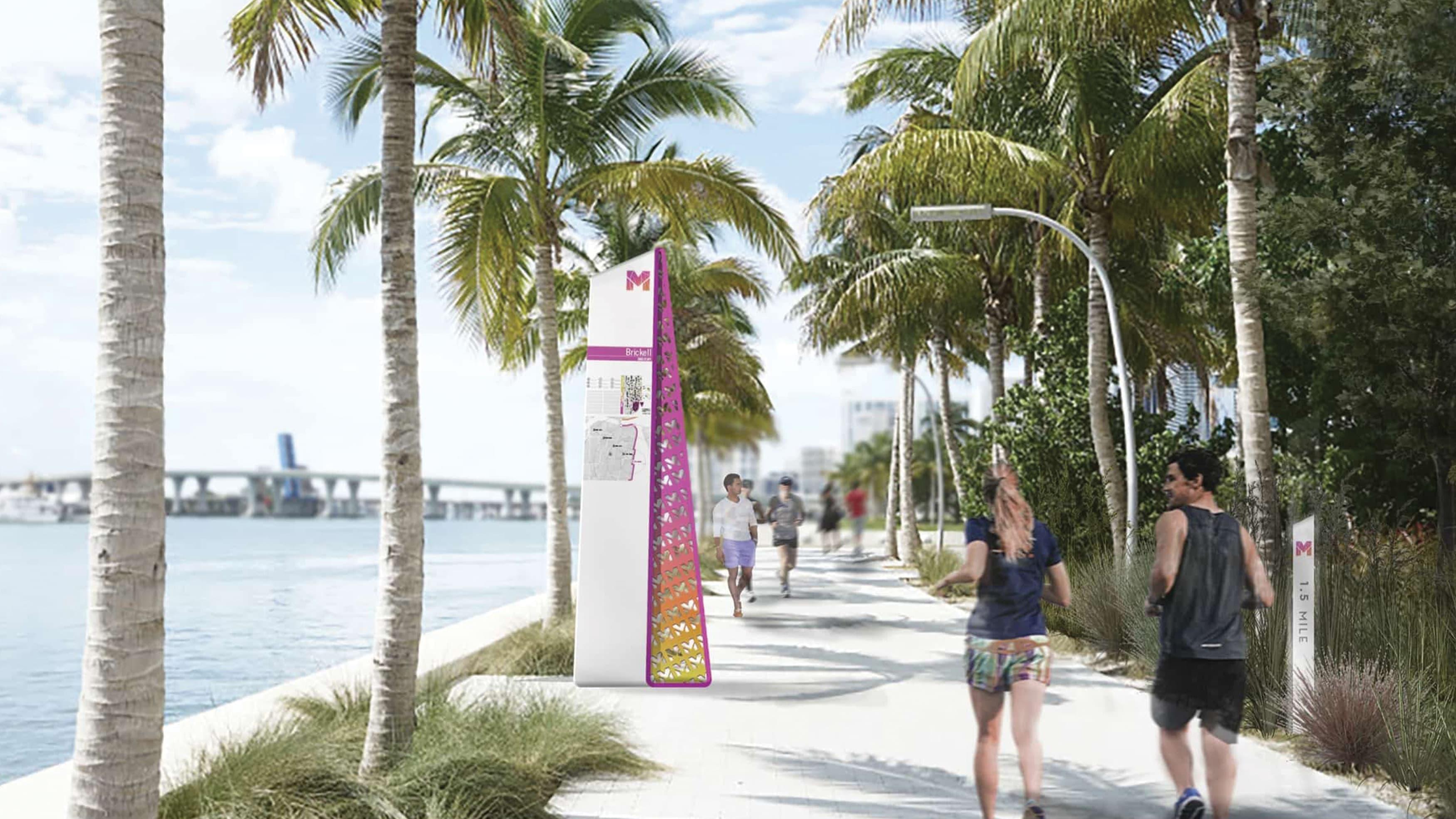 Miami Baywalk wayfinding signage along the waterfront.