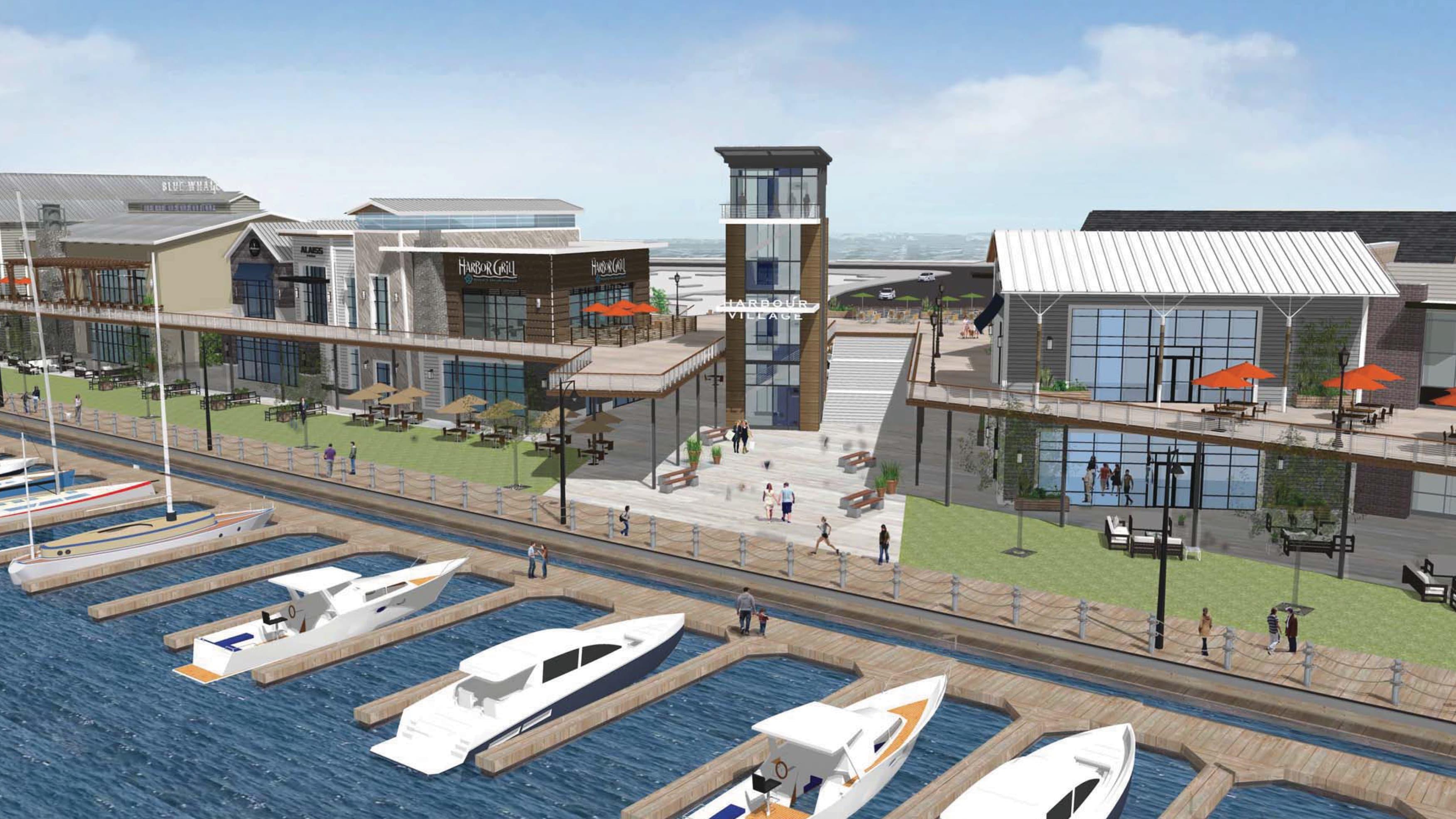 Rendering of Dana Point Harbor revitalized commercial core.