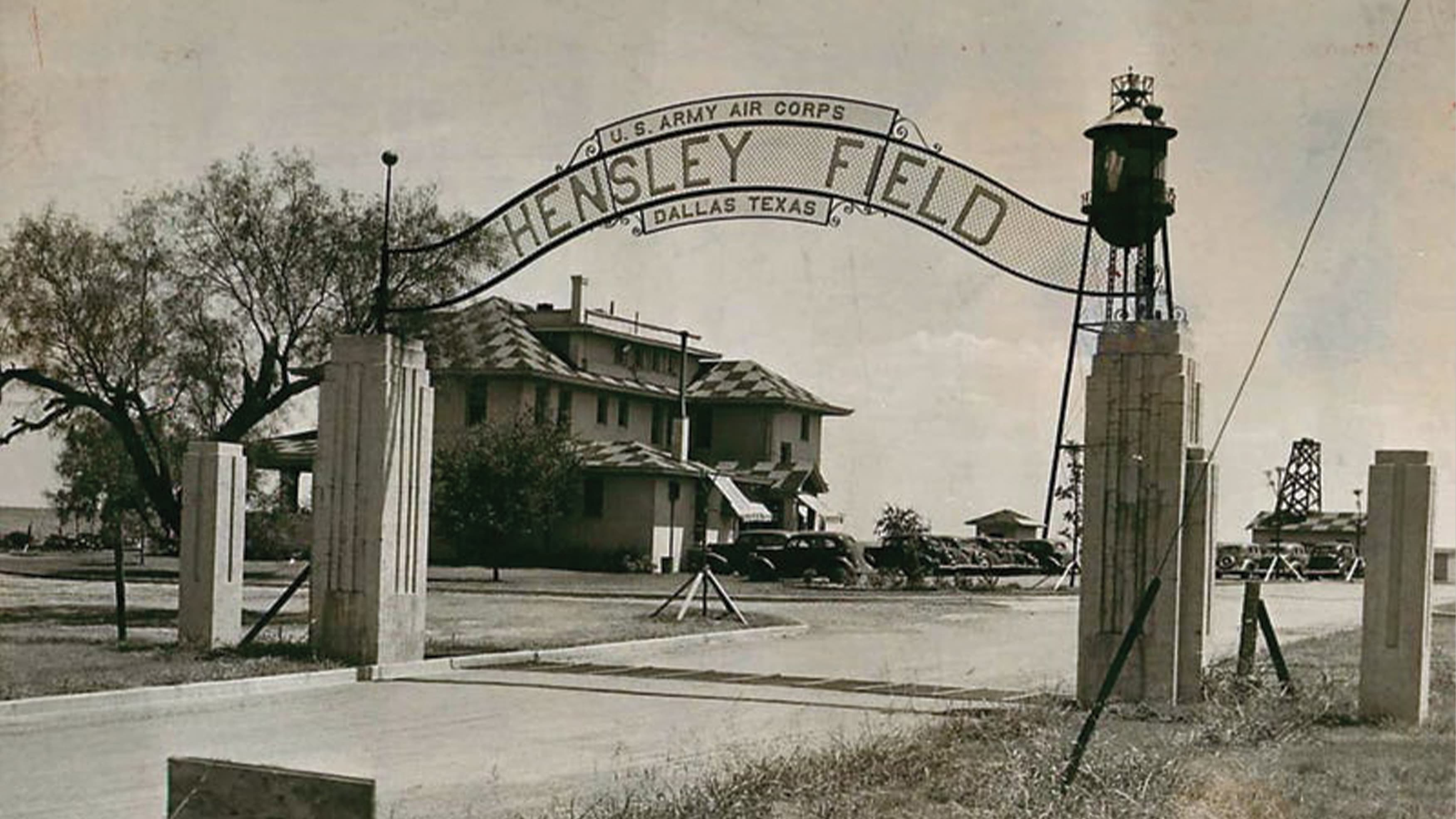 Historic entry gateways signage at Hensley Field in Dallas, Texas.