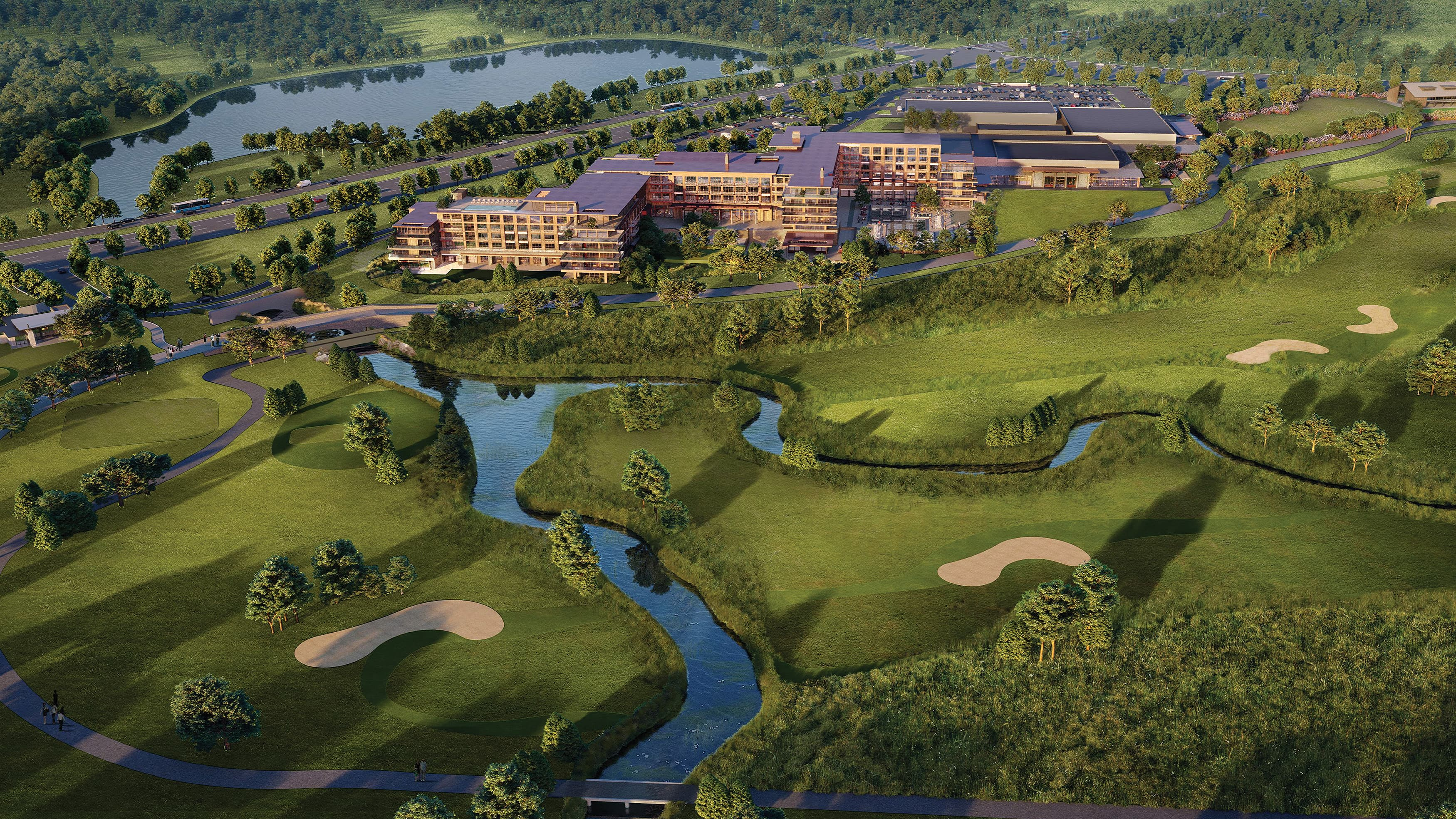 Aerial view of golf course at Omni PGA Resort in Frisco, Texas.