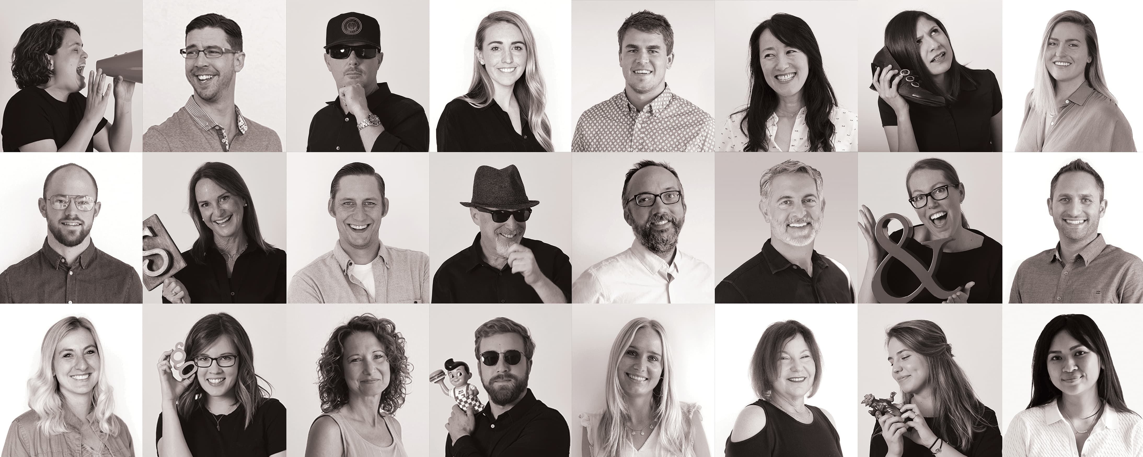 Black and white images of RSM Design employees across our four environmental graphic design studio locations.