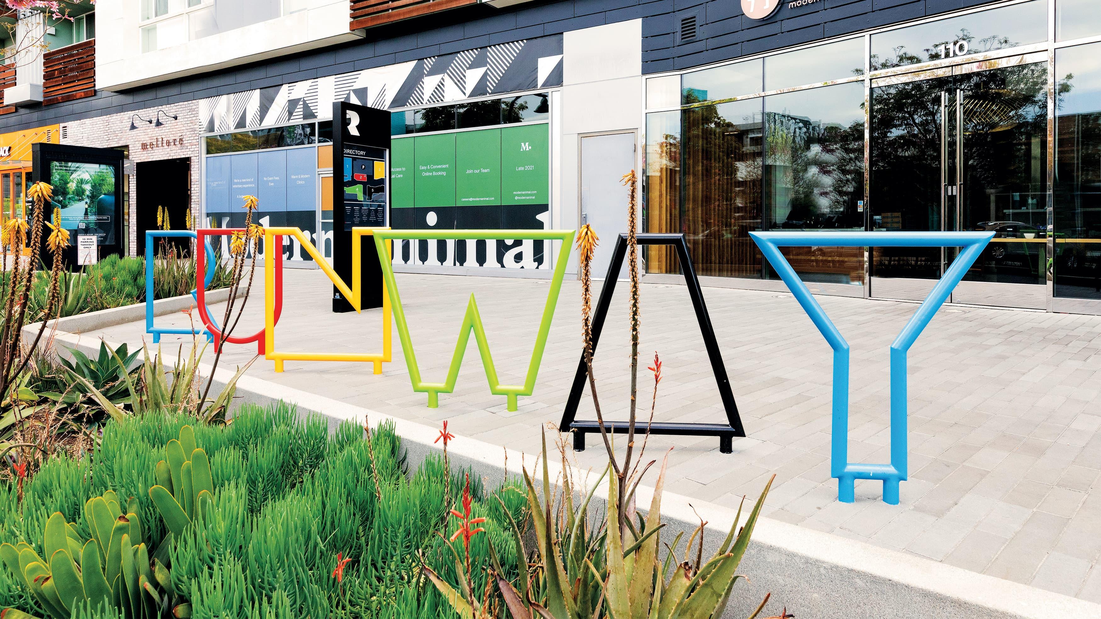 multi-colored Runway Playa Vista project identity.