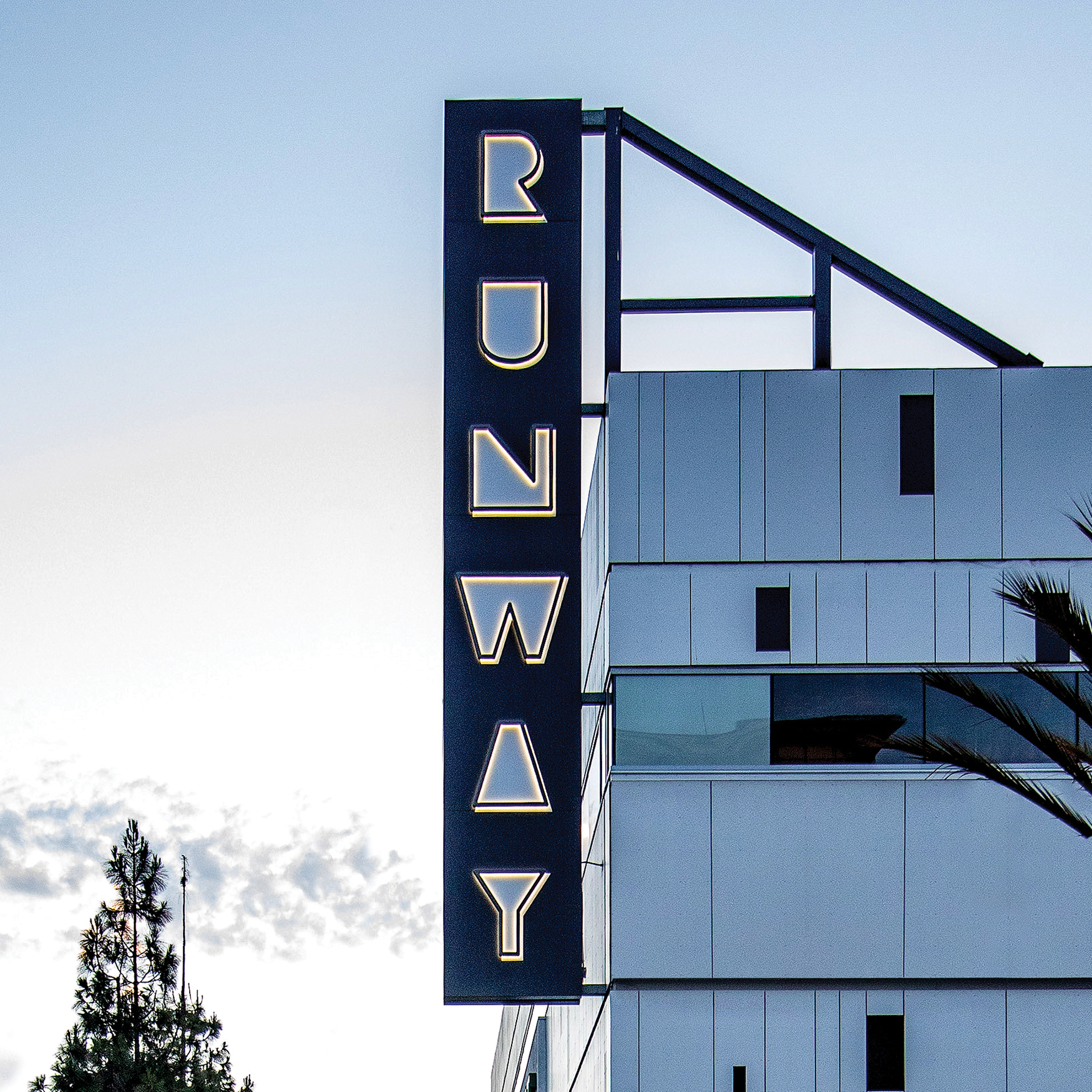 Runway Playa Vista project identity marquee sign and parking directional sign.