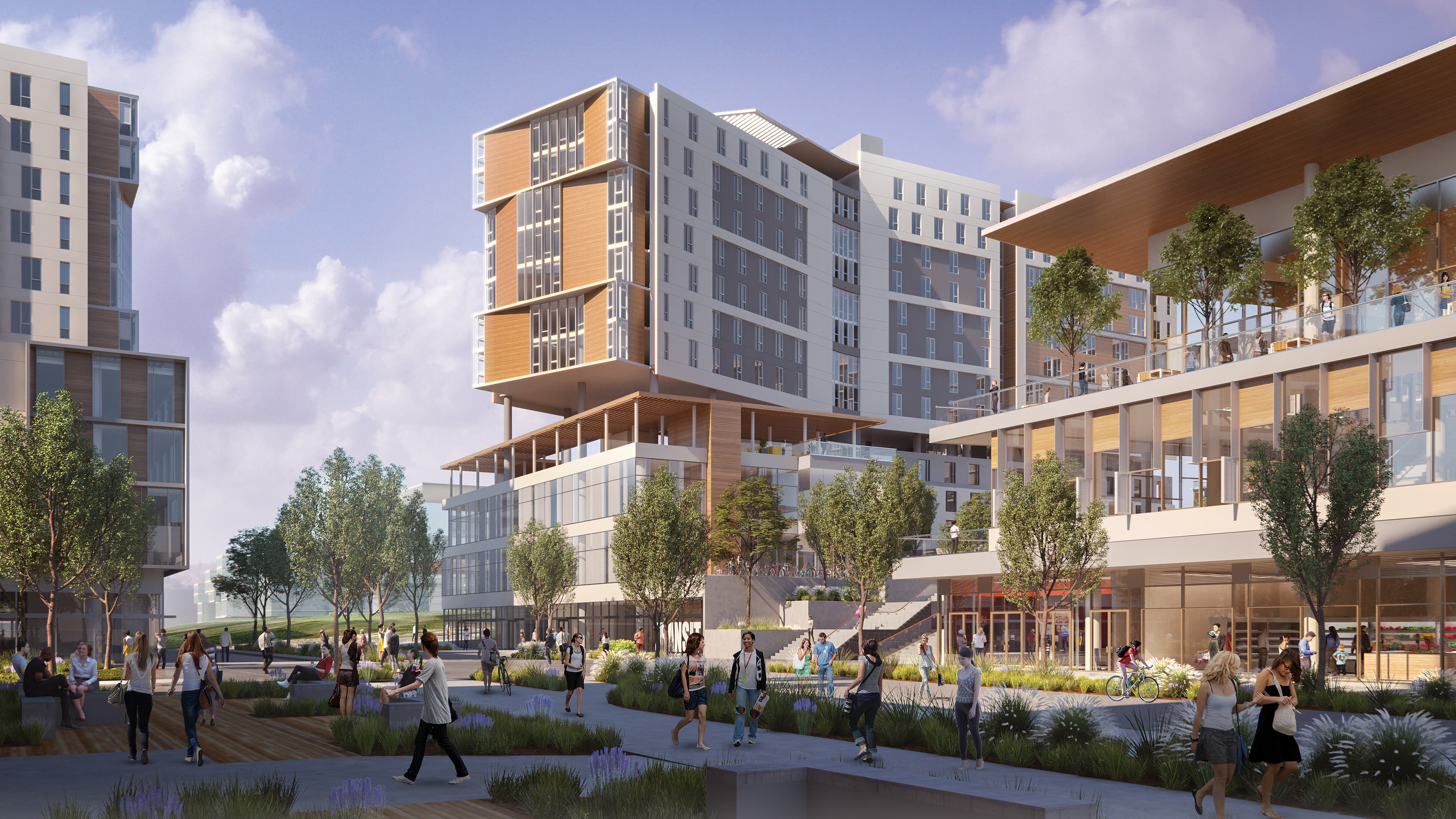 Exterior rendering of UC San Diego's Sixth College Dining Hall