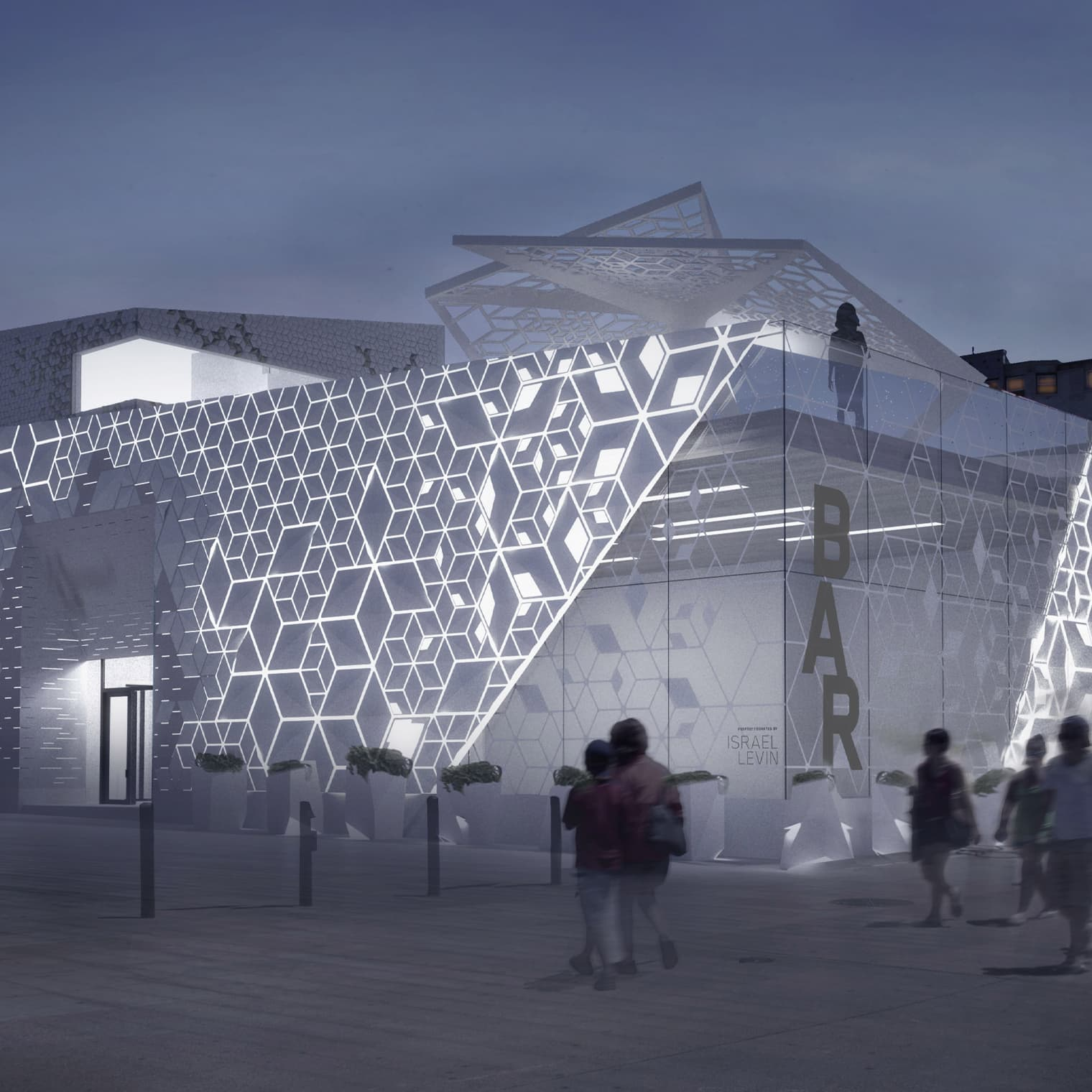 Evening rendering of The BAR Center at the Beach in Venice, California