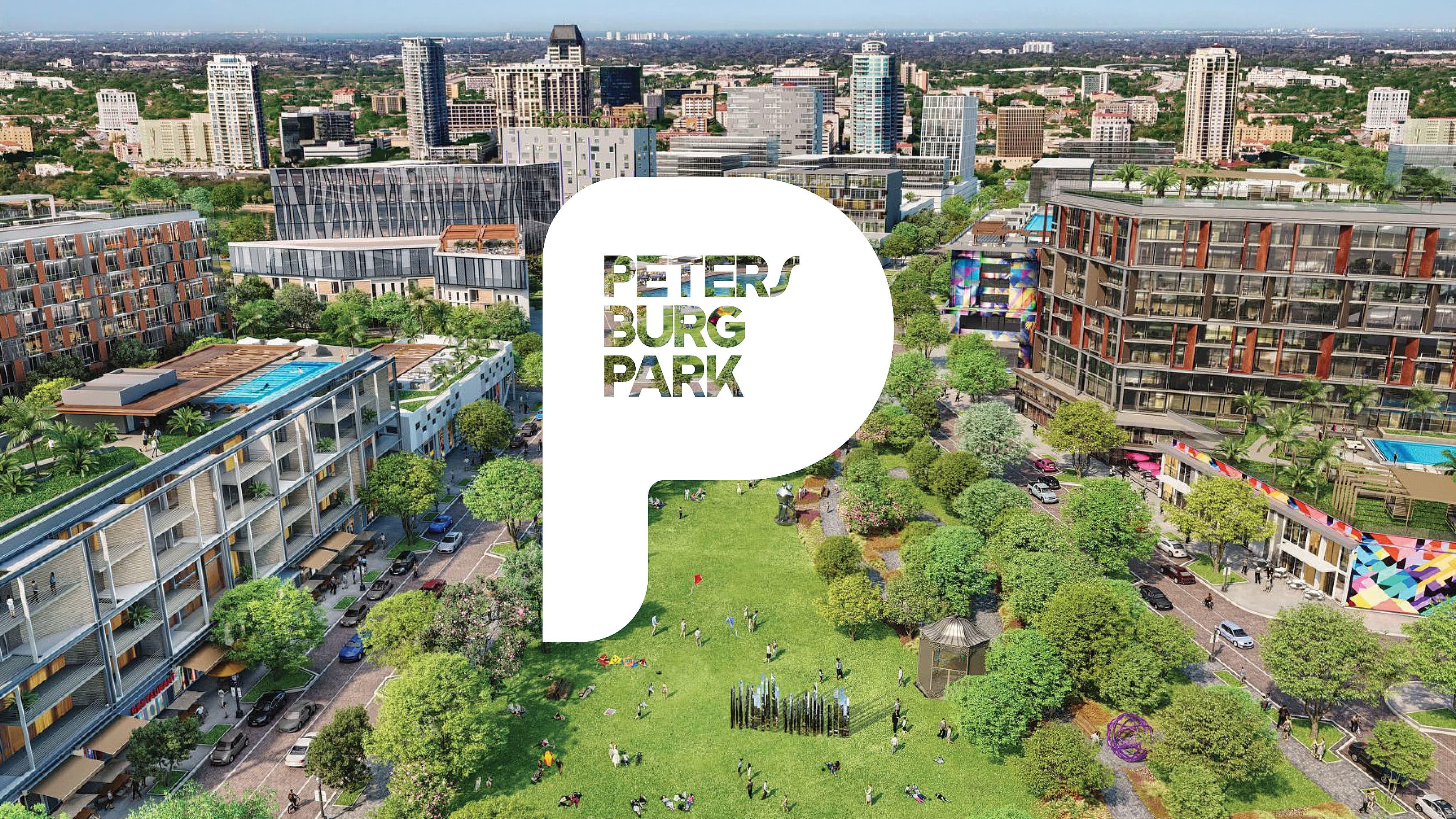 Logo design for Petersburg Park by RSM Design on an aerial rendering of a park.