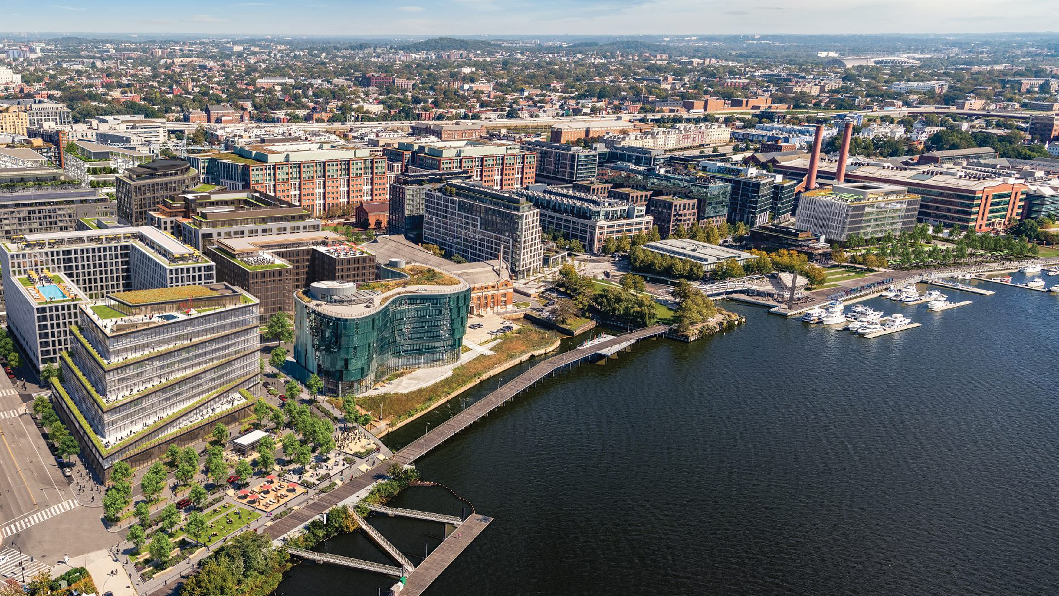 Aerial image of waterfront and city at The Yards in Washington, D.C.