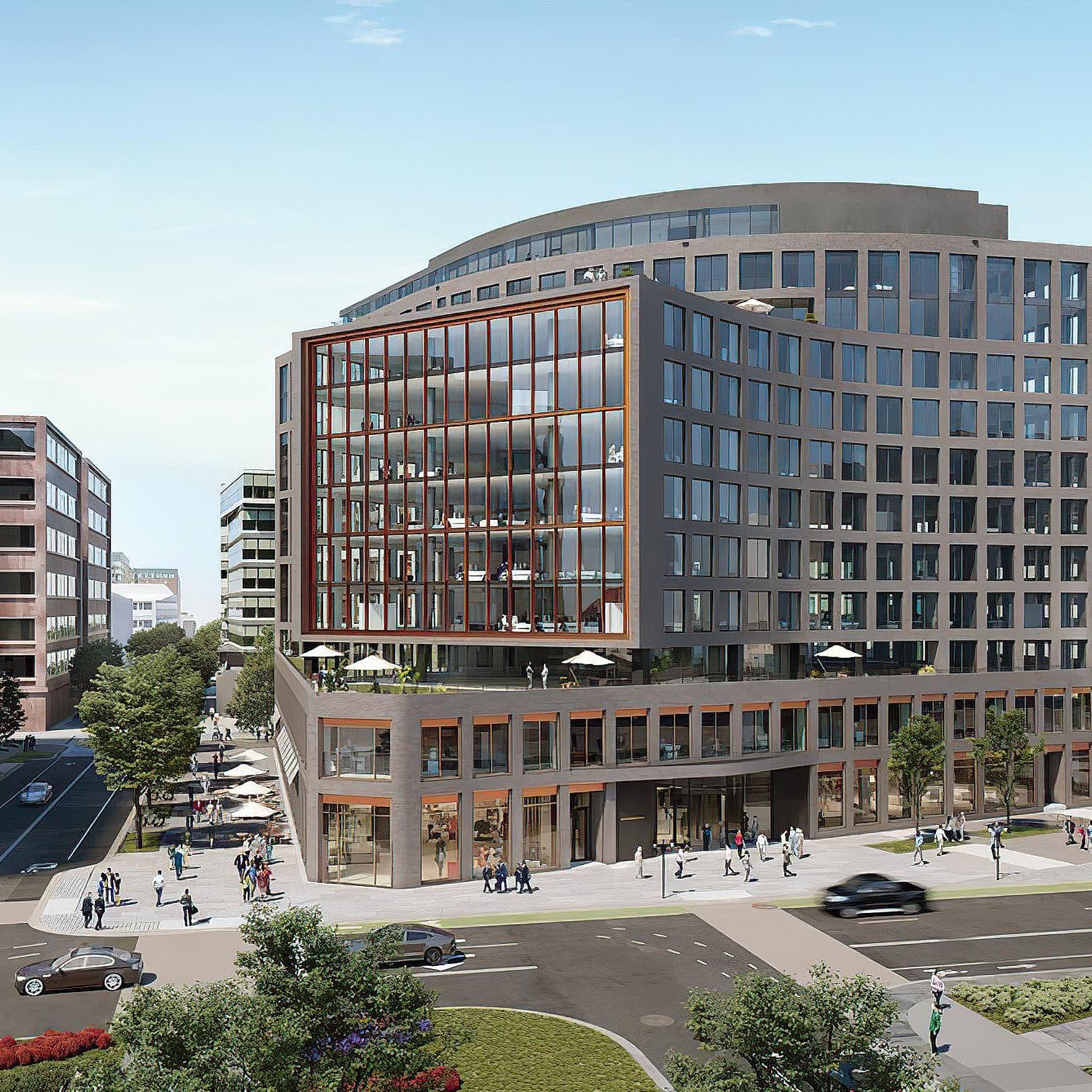 Aerial rendering of Chemonics International Headquarters in Washington, D.C.