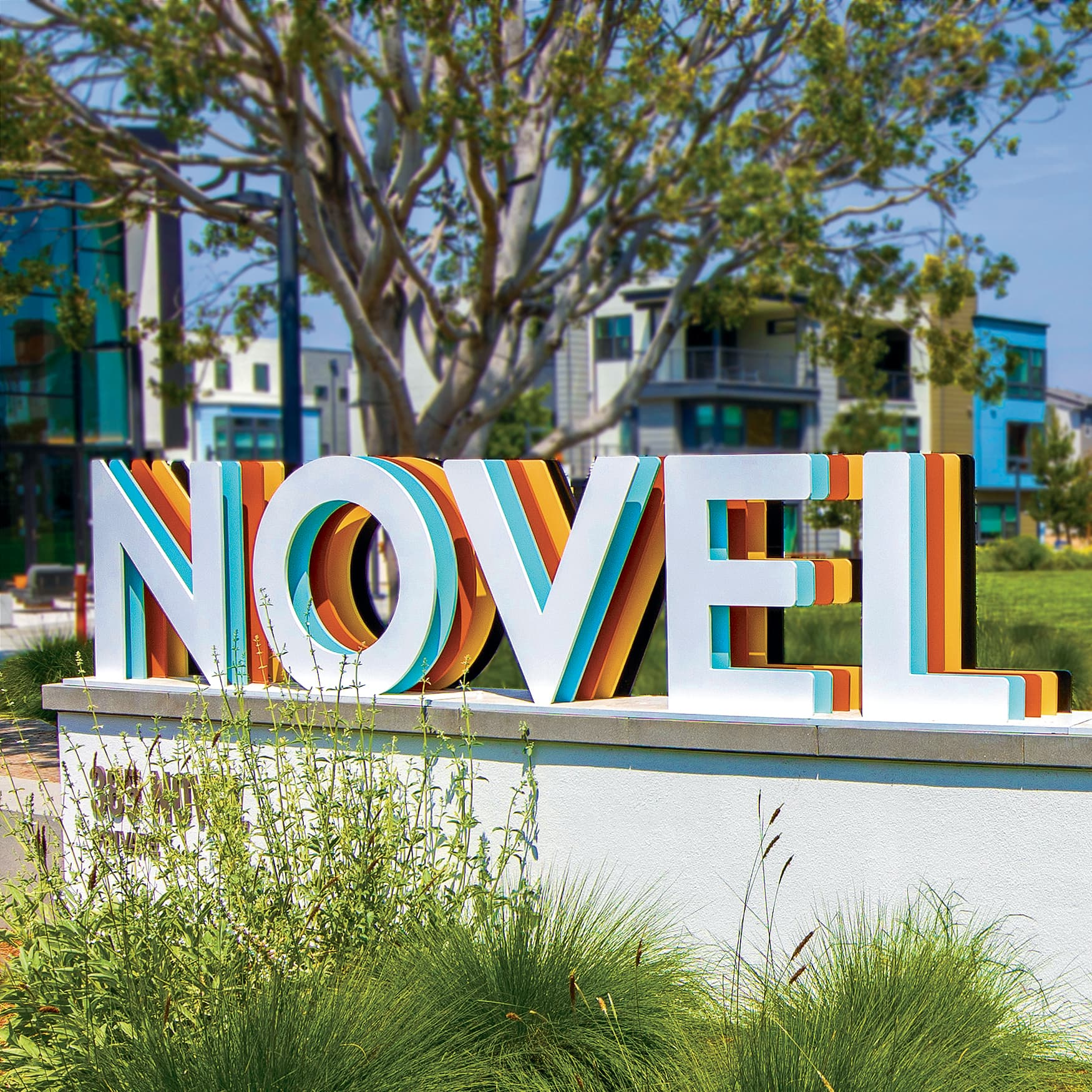 Multi-colored identity sign design at Novel Park in Irvine, California.