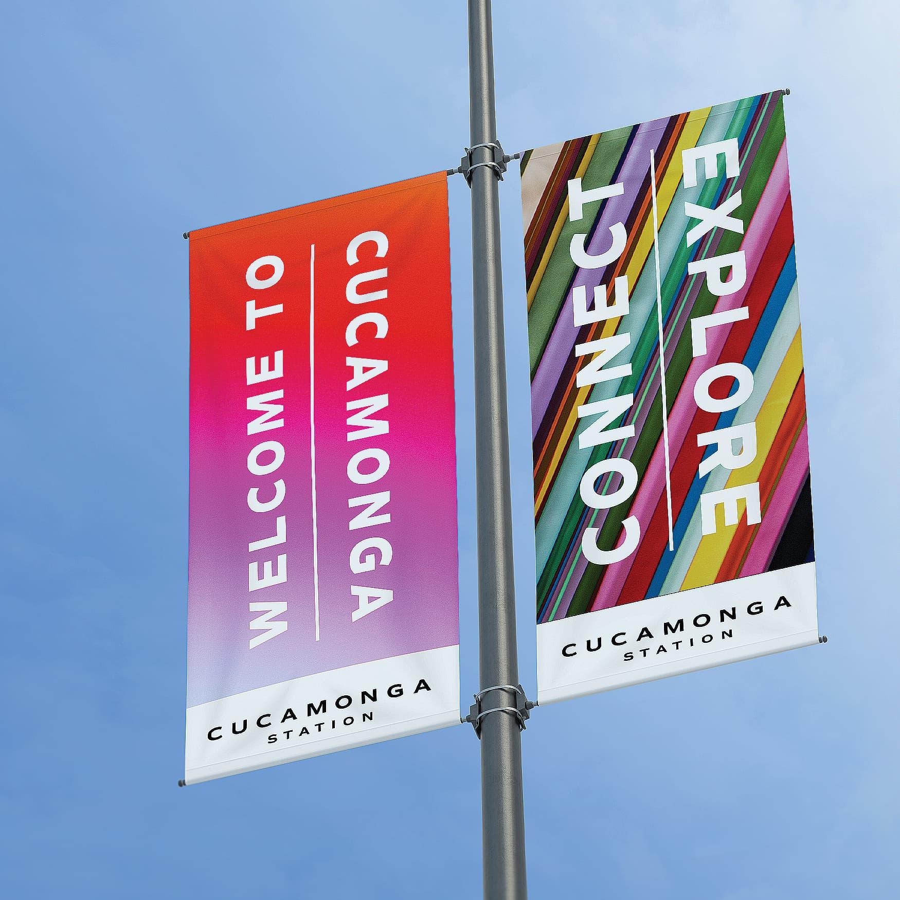 Colorful banners hanging for Cucamonga Station in Rancho Cucamonga, California.