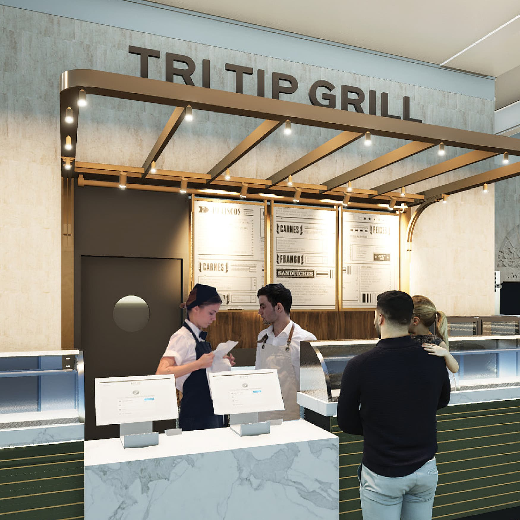 Design rendering for a food kiosk at Grand Central Terminal in New York City