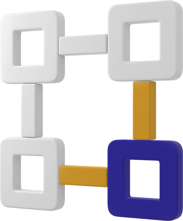 computer generated image of a four squares connected