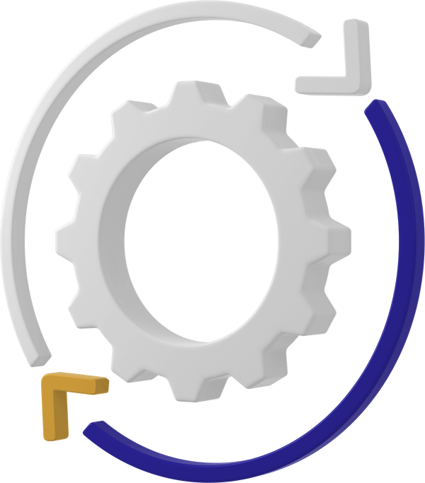 computer generated image of a cog with an arrow around the side