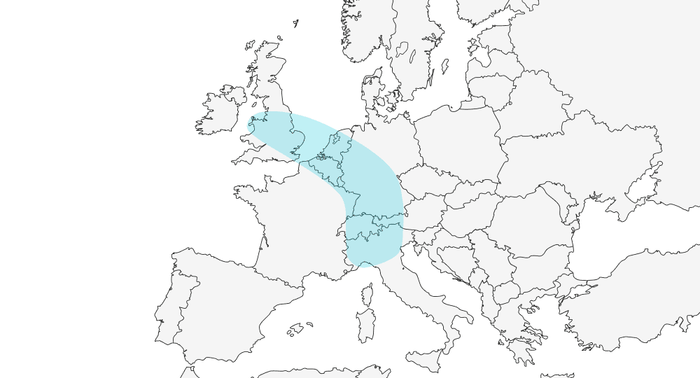 Map showing the Blue Banana region, in the EU