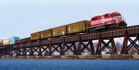 Freight train crosses the Merrimac Bridge in Wisconsin