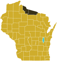 Map showing 2010 census percentages of people 65 years and older by Wisconsin county