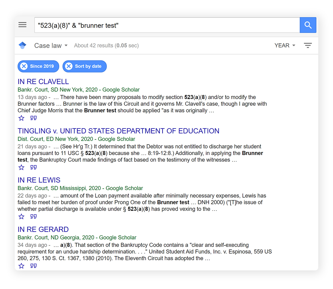 Google Scholar homepage showing search term for Brunner Test student loan cases.