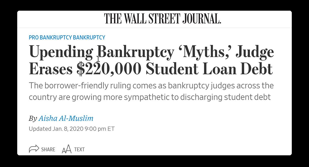 Wall Street Journal headline of man discharging student loan debt in bankruptcy.