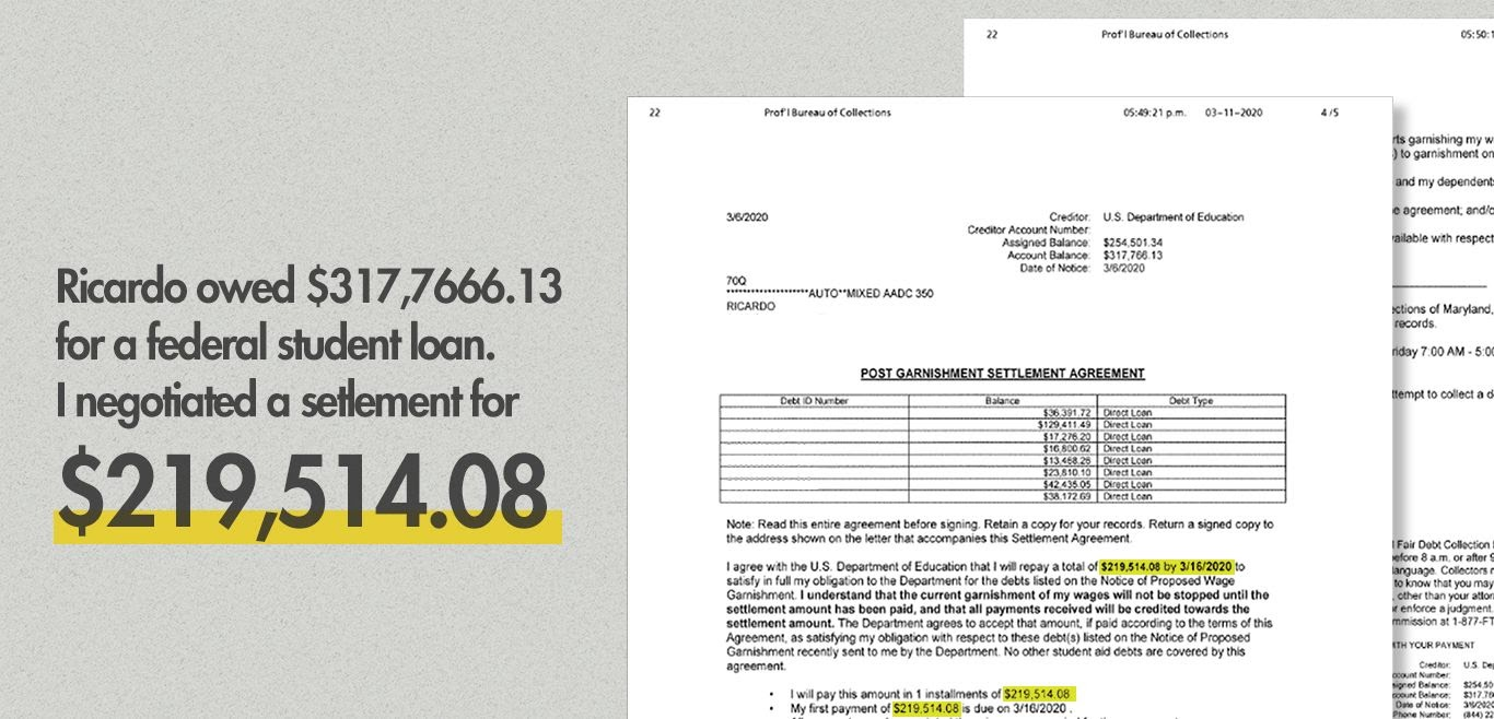 Federal student loan settlement with Professional Bureau Collections of Maryland.