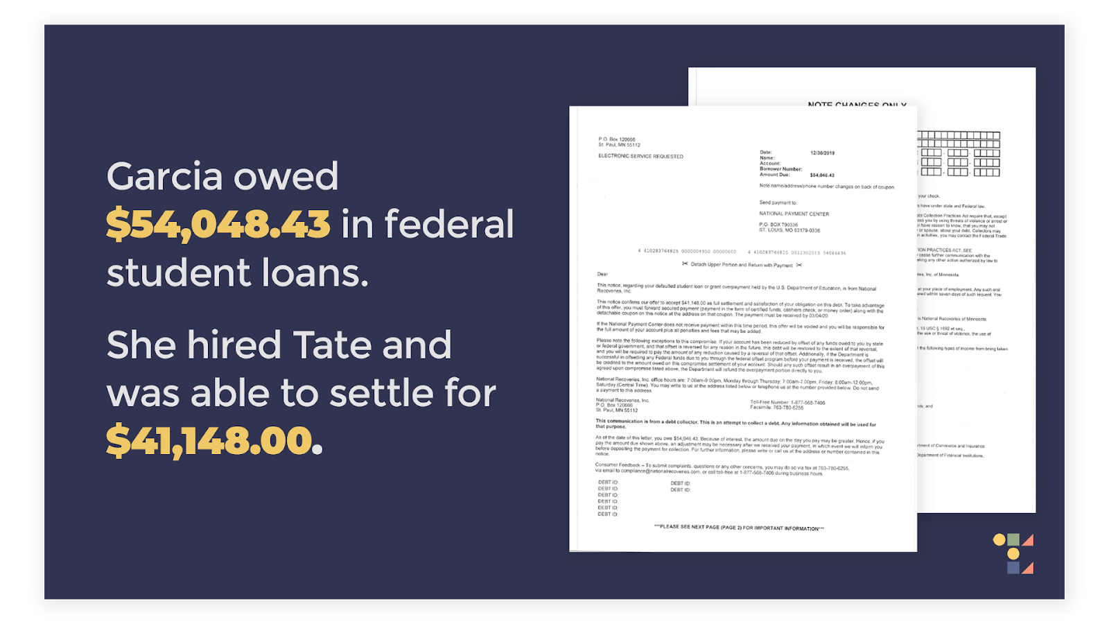 Sample of federal student loan settlement letter