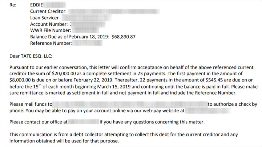 Eddies Loan Settlement