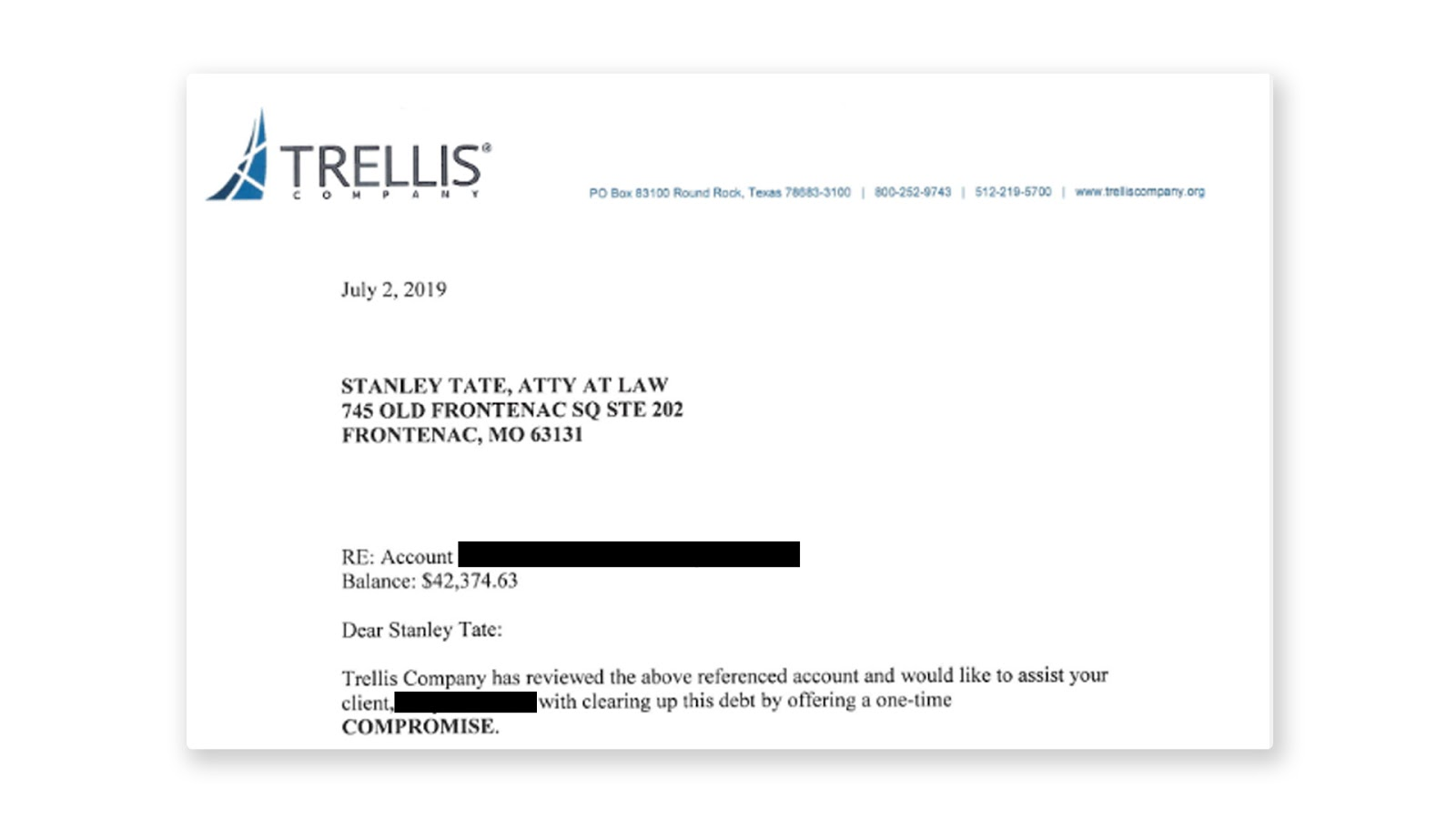 Trellis defaulted student loan settlement letter