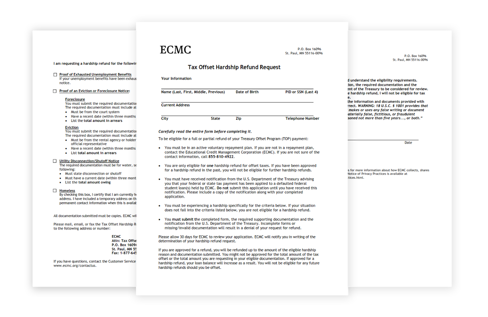 Layout of ECMC tax refund offset student loan hardship request