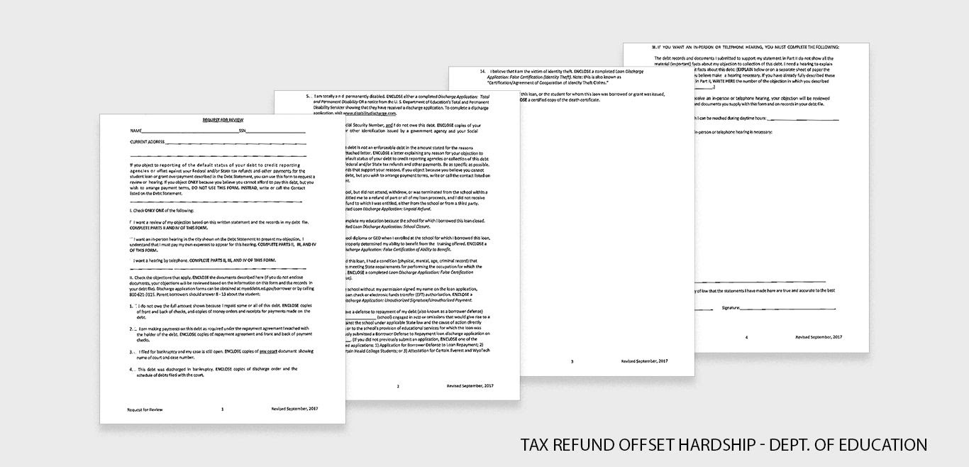 Flat lay of tax refund hardship application for the Department of Education.
