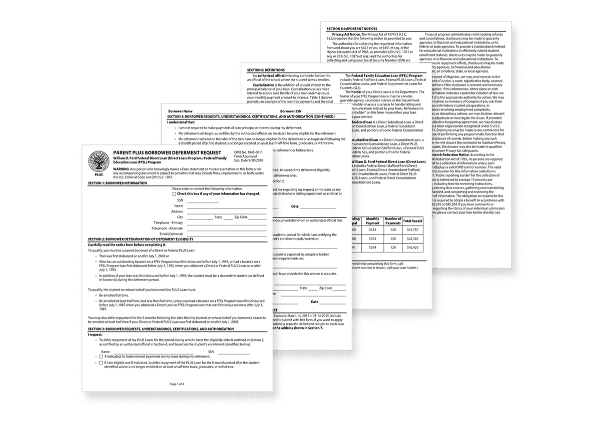 Flat lay of Parent Plus loan deferment application.