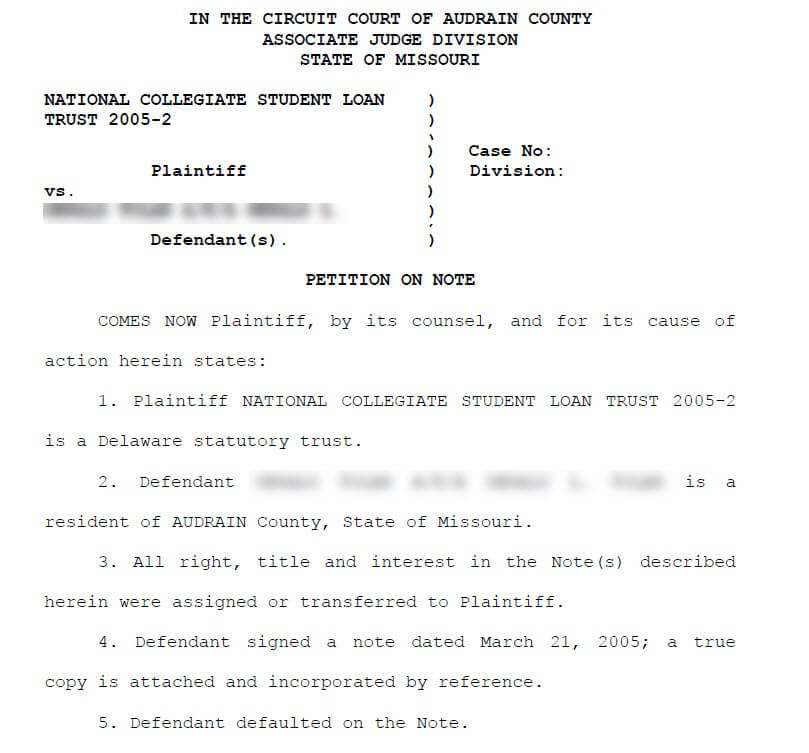 national collegiate student loan lawsuit example