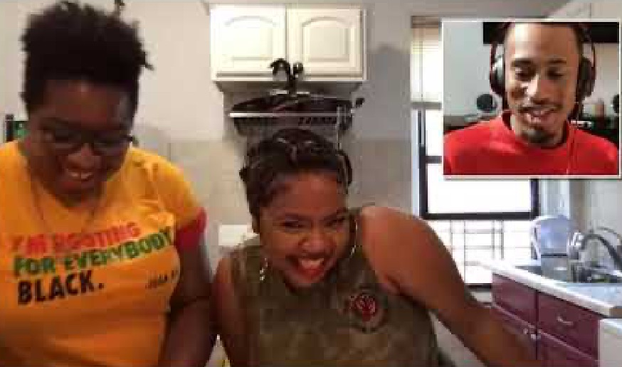 Chef Mavis Jay and Chef Sicily Sierra on a video call with a black man
