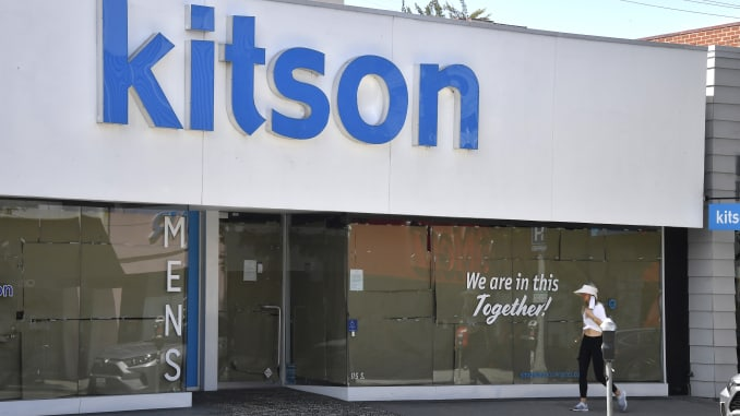 A view of Kitson Store on Robertson displaying a message on their window during the COVID-19 lockdown on April 22, 2020 in Beverly Hills, California.