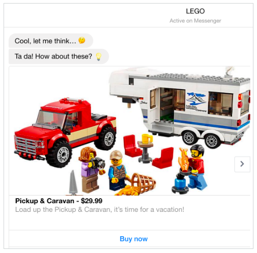 LEGO chatbot features