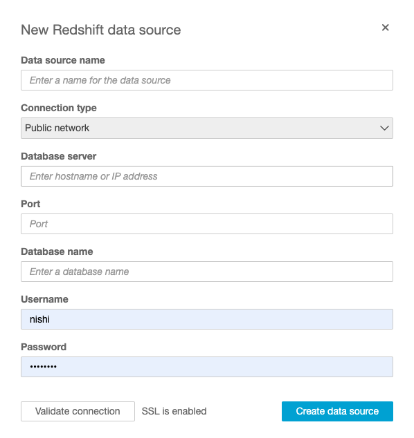 Connecting Redshift to QuickSight