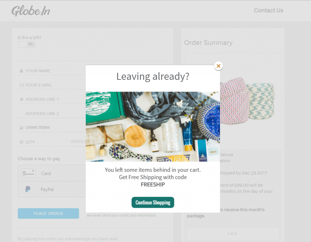 PoP-up Notification to solve cart abandonment issue.